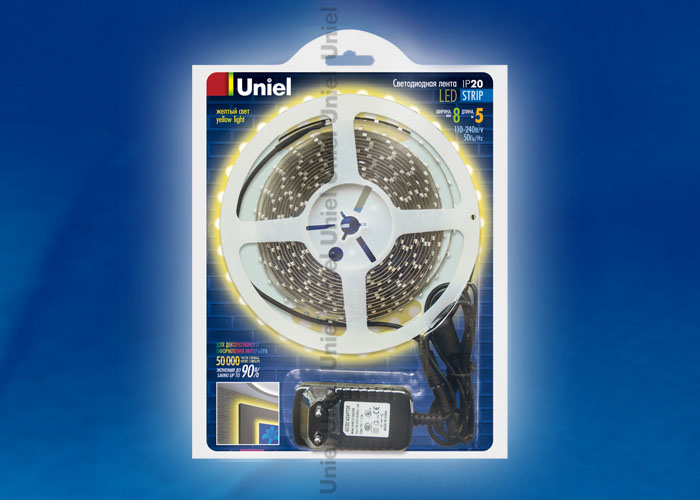 ULS-3528-60LED/m-8mm-IP20-DC12V-5M-YELLOW блистер
