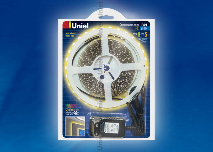 ULS-3528-60LED/m-8mm-IP54-DC12V-5M-YELLOW блистер